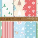 Digital Paper-Christmas-BluGrnRedBeigeWh Tree PatternsStripesSnow FlakesMerry Christmas Backgrounds