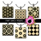 1 Inch Squares BLACK & TAN Geometric Design Collage Sheet-print for PendantsMagnets Wine Charms