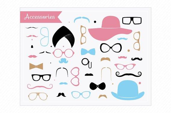 Moustaches Clip Art - Mustaches Party Set - Accessories