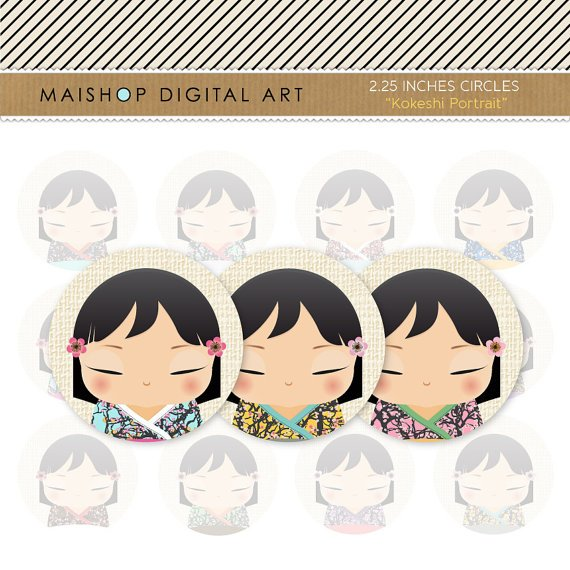 2.25' Digital Collage Sheet Circles - Japanese Kokeshi Dolls Portrait