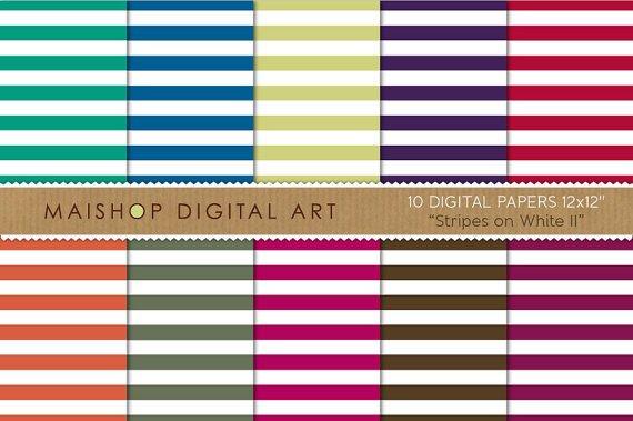 Digital Paper-Stripes on Wh II-GrnBluPistachioPurpRed,OrgGrnMagenta,Brw