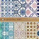 Digital Paper - Lisbon Tiles - print Digital Sheets Portuguese Tiles Azulejosing