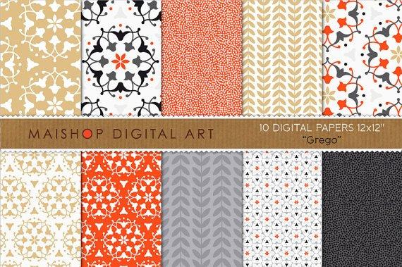 Digital Paper-Grego-Black,Gold,Red,Wh ,Gray Floral Ornament,Laurel Leaves,Scrapbook,Invitations