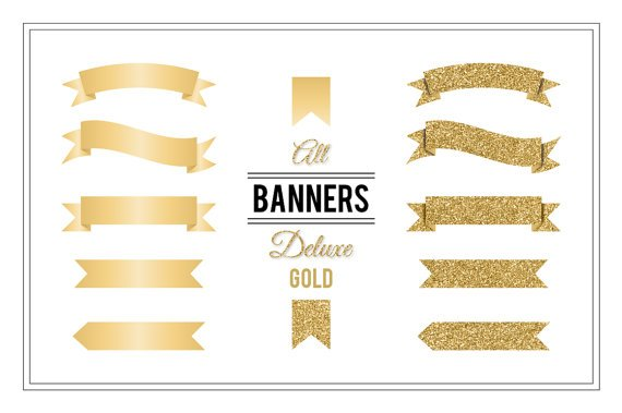 Ribbon Banners Deluxe Gold-Clip Art-Golden Glitter Digital Banners for CardsScrapbookingWeb