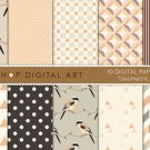 Digital Paper-Geometric Birds-BeigeCream,OrgGrnChevronTrianglesStripess