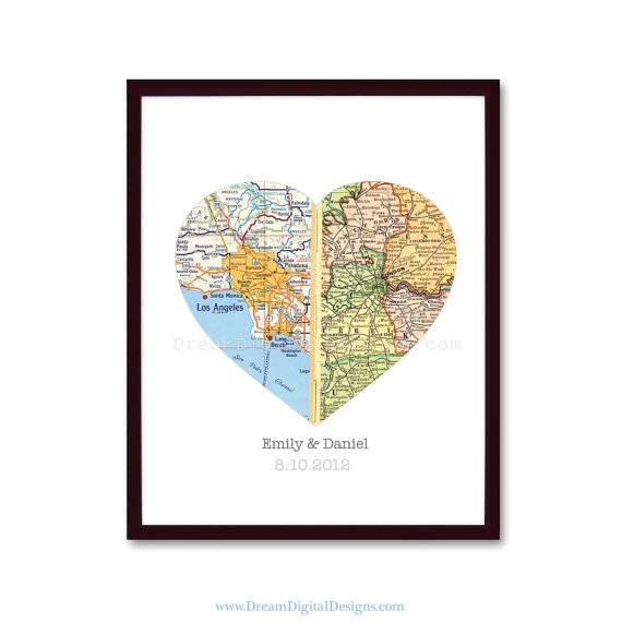 Personalized Map Art, Wedding Gift, Heart Map Gift for Couples, Wedding Gift