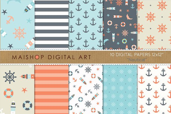 Digital Paper-Nautical-StripesAnchorsLighthouses,Digital for PrintsCardsScrapbookCollages