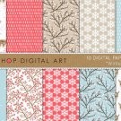 Red,Blue ,Brw Digital Paper 'Winter' print Art,Deers,Flowers,Snowflakes,for Scrapbook,Design