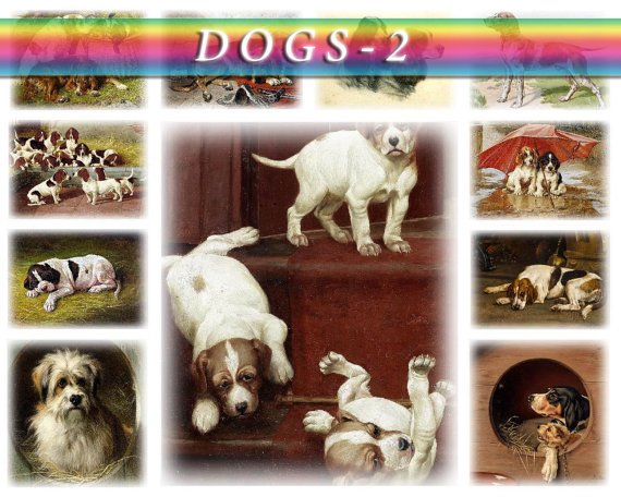 DOGS PAINTINGS-2 124 vintage images Terrier Pointer Setter High Res.