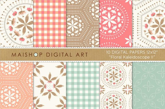 Digital Paper-Floral Kaleidoscope II-Coral,Iceberg Grn,M,ys Pink,Pale Taupe,papers for Prints