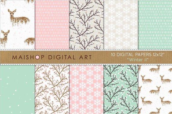 PinkGeen Beige Digital Paper-Winter II-DeersBlossomsSnowflakes PatternsCards