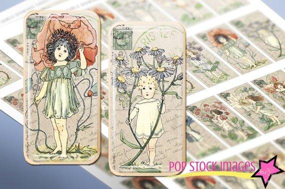 Vintage Garden Girls DOMINO Collage Sheet-Girls Flowers print Tiles for Pendants