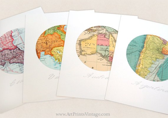 Personalized Map Art, Anniversary Gift, 4 Map Art, Paper Anniversary, Circle Art