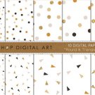 Digital Paper-Round & Triangle Confetti III-GrayDawn PinkOchre Gold print PapersCardsDesign