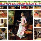 PAINTERS SCULPTORS on 210 images of artists virtuoso on vintage print