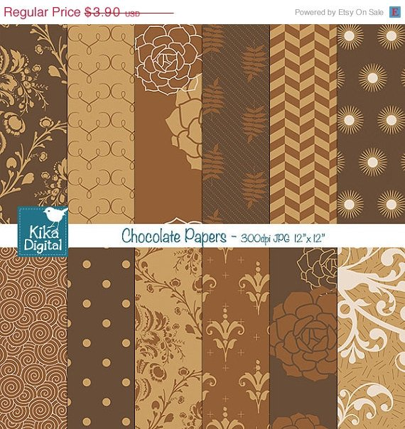 Chocolate Caramel Digital Papers,Brws papers, Chocolate Papers, card designOA