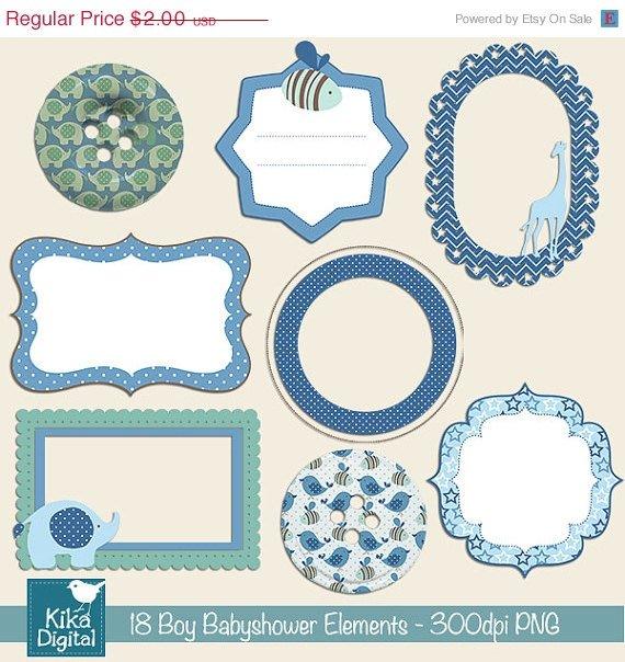 Boy Babyshower Elements Digital Clipart-Scrapbooking card designblueframesbordes