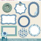 Boy Babyshower Elements Digital Clipart-Scrapbooking card designblueframesbordes