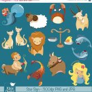 Star Sign Clipart- Digital Clipart / Scrapbooking - card design, stickers