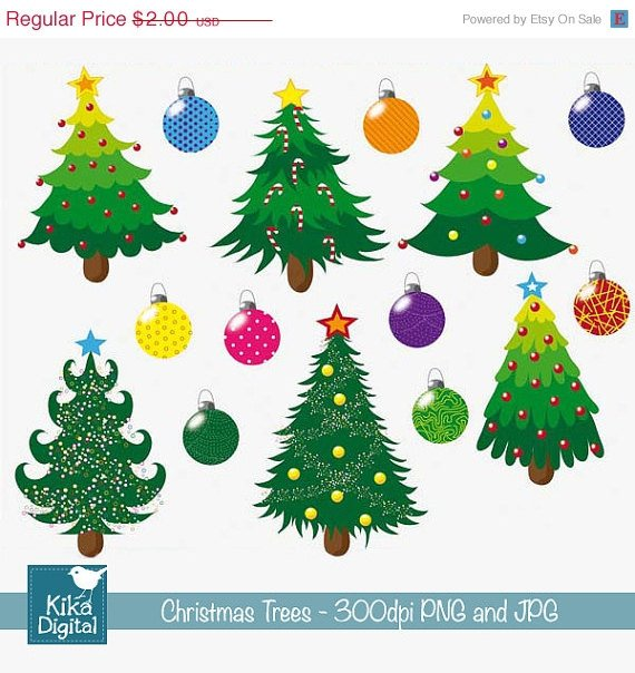 Christmas Trees - Digital Clipart / Scrapbook - card design, stickers