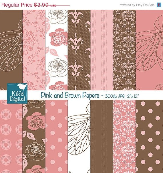 Pink ,Brw Digital Papers, Flowers Scrapbooking Papers, Roses Digital Papers