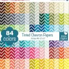 Tinted Chevron Digital Papers - Rainbow Scrapbook Papers - Huge Paper Pack
