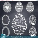 Lace Easter Eggs Clip Art-Easter HLettering Easter Eggs ClipartLace Eggs Vector