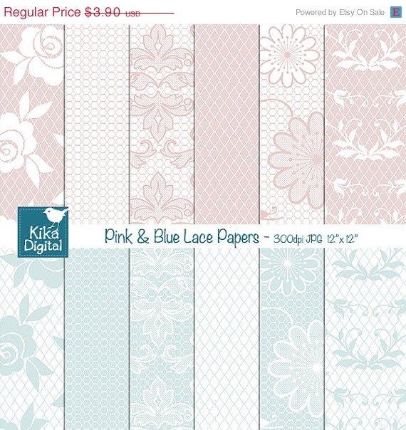 Pastel Pink Blue Lace Digital PapersLight Pink Blue Digital Scrapbooking Papers