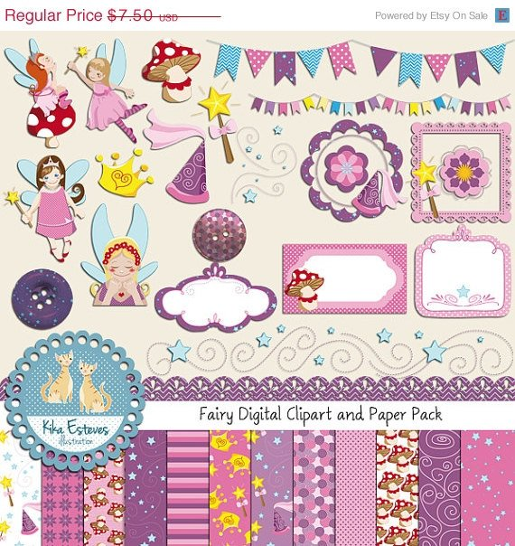 Fairy Digital Clipart , Paper Pack - Scrapbooking , card design, stickers
