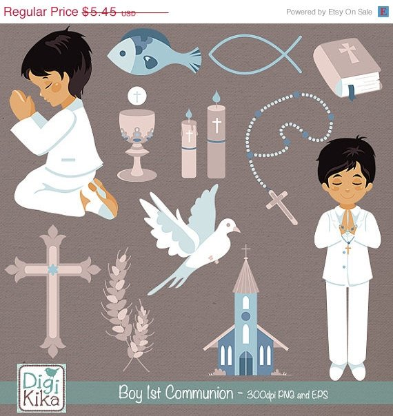Boy First Communion Clip Art - Communion Clipart, Catholic Vector Graphic