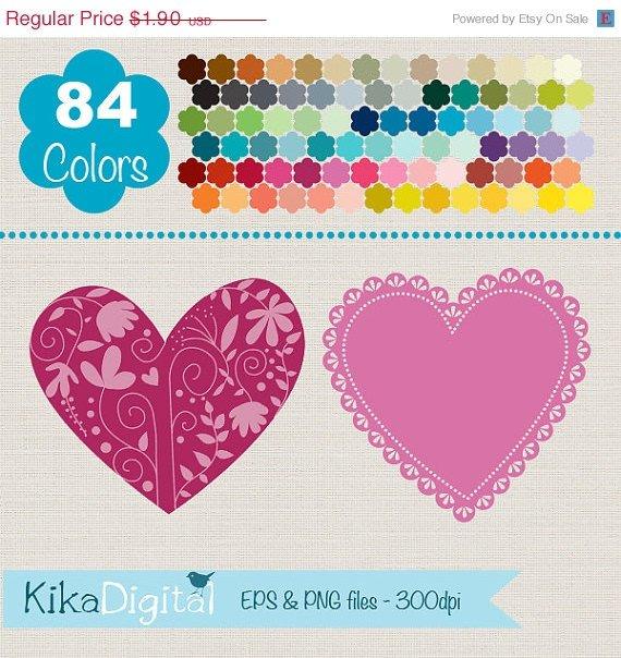 Lace Hearts Clip Art, Rainbow Heart Frames, Colorful Heart