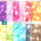Color Bokeh Digital Papers, Bokeh Scrapbook Papers - card design, background