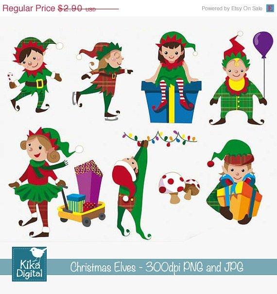 Christmas Elves - Digital Clipart / Scrapbook - card design, invitations