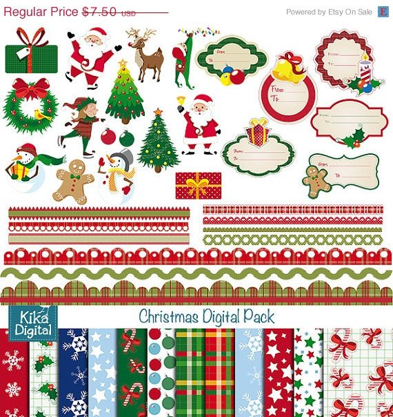 Christmas Digital Clipart , Paper Combo - Scrapbook , card design, stickers
