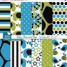Baby Olive , Blue Digital Papers - Scrapbooking, card design, background