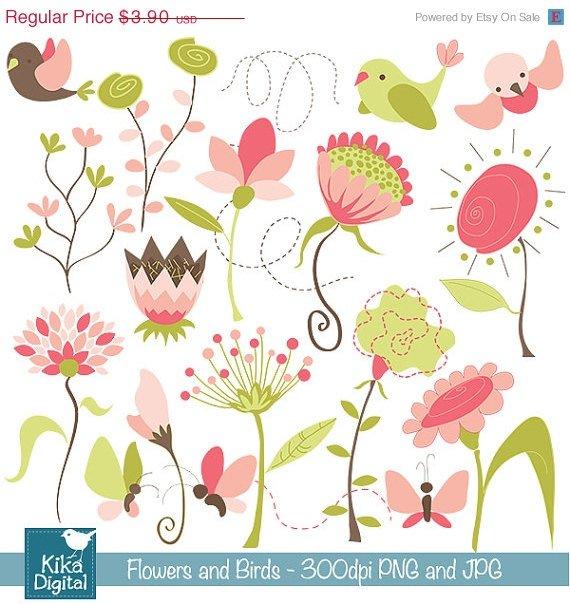 Flowers , Birds Digital Clipart - Scrapbooking , card design, photo booth