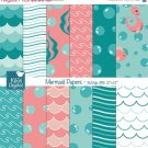Mermaid Digital Papers - Under Sea Papers - Scrapbook, card design, invitations