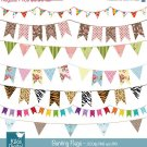 Bunting Flag Banner Digtal Clipart - Flag Banner Scrapbook , card design