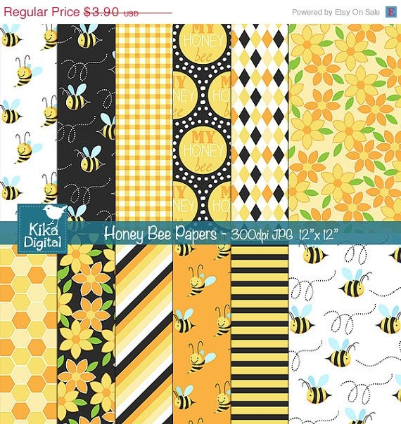 Honey Bee Digital Papers - Digital Scrapbooking Papers - card design, background