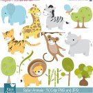 Safari Animals Digital Clip art - Scrapbook , card design, invitations, stickers