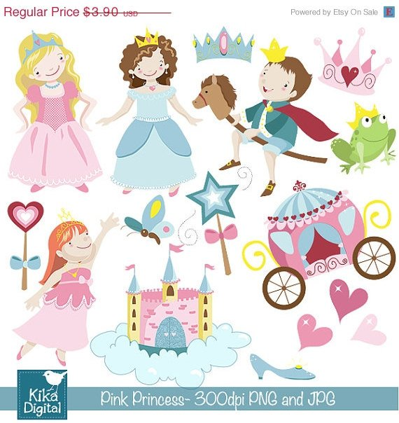 Pink Princess Digital Clipart - Scrapbooking , card design, stickers