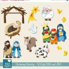 Christmas Nativity - Digital Clipart / Scrapbook - card design, stickers