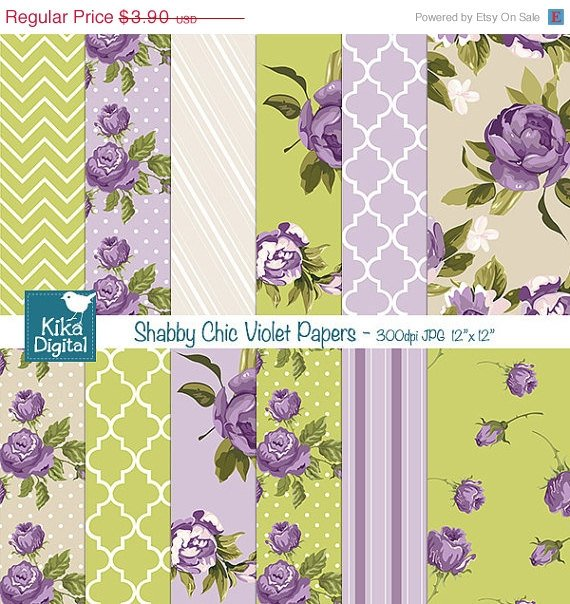 Shabby Chic Violet Digital Papers - Scrapbook, card design, background