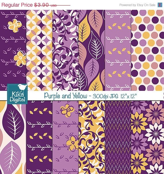 Purple , Yellow Digital Papers - Scrapbooking, card design, background