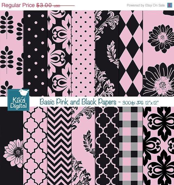 Pink , Black Digital Papers - Digital Scrapbook Papers - card design, background