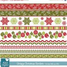 Vintage Christmas Borders - Scrapbooking borders - card design, invitations
