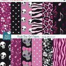 Rock Star Girl Digital Papers- Pink , Black Digital Scrapbooking- card design O