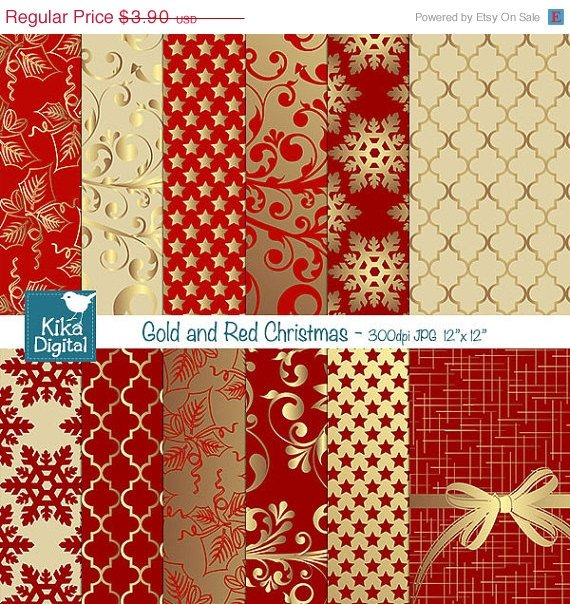 Gold , Red Christmas Digital Papers - Scrapbooking Papers - card design