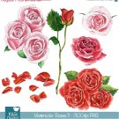 Watercolor Roses Ii Clipart - H, Painted, card design, watercolor, h, drawn
