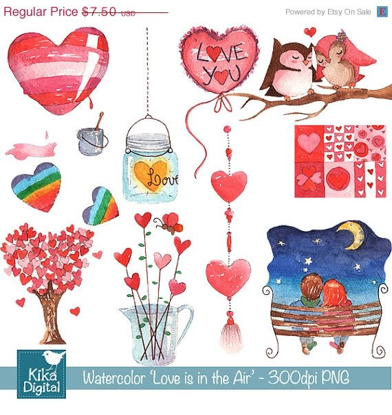 H, Painted Watercolor Love is in the Air Clipart - card design, stickers